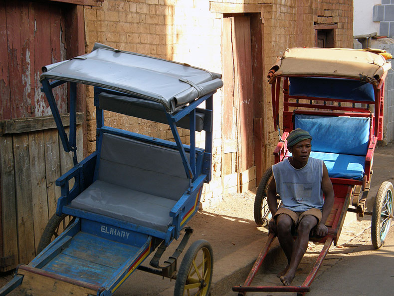 Antsirabe is famous with its pulled rickshaws or 'pousse-pousses' (in French)